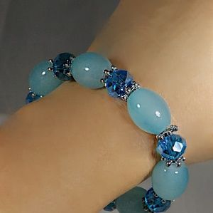Blue Agate with Dichroic Glass Beaded Bracelet